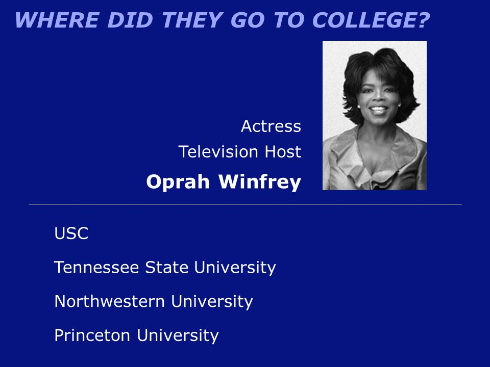 Oprah Winfrey Actress Television Host USC Tennessee State University