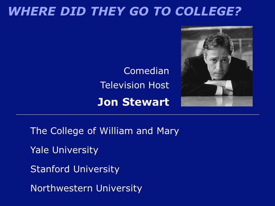 Jon Stewart Comedian Television Host The College of William and Mary