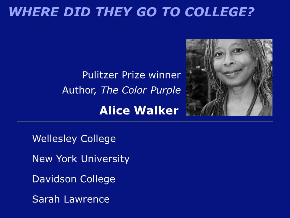 Alice Walker Pulitzer Prize winner Author, The Color Purple