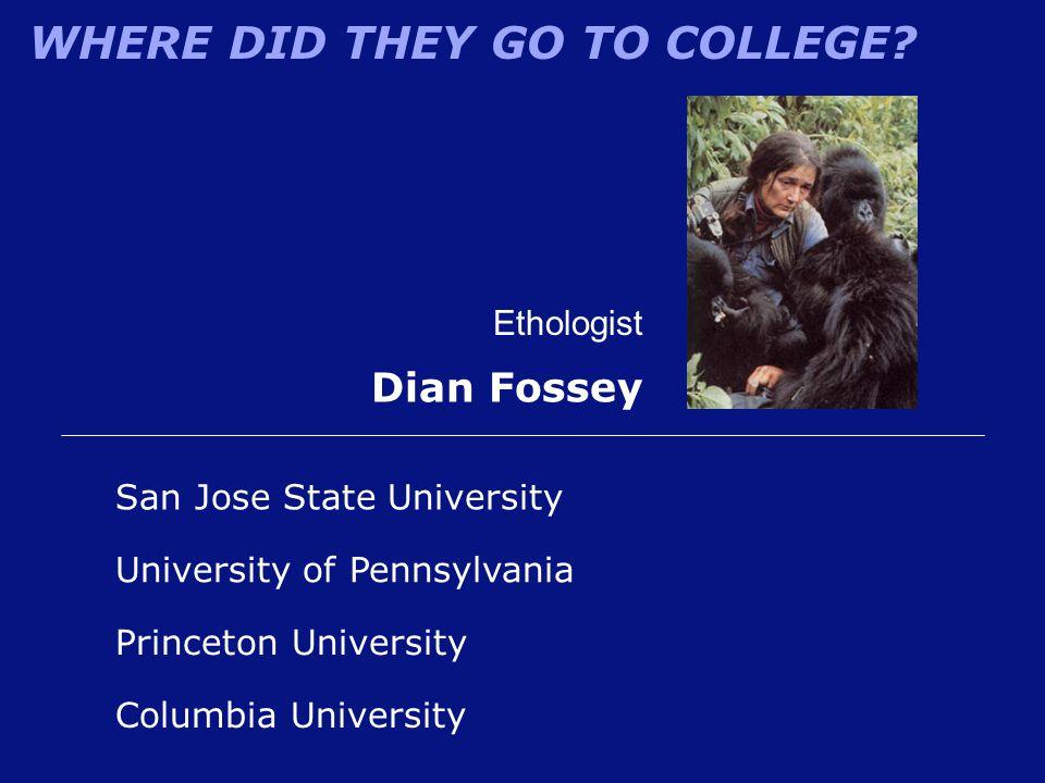 Dian Fossey Ethologist San Jose State University