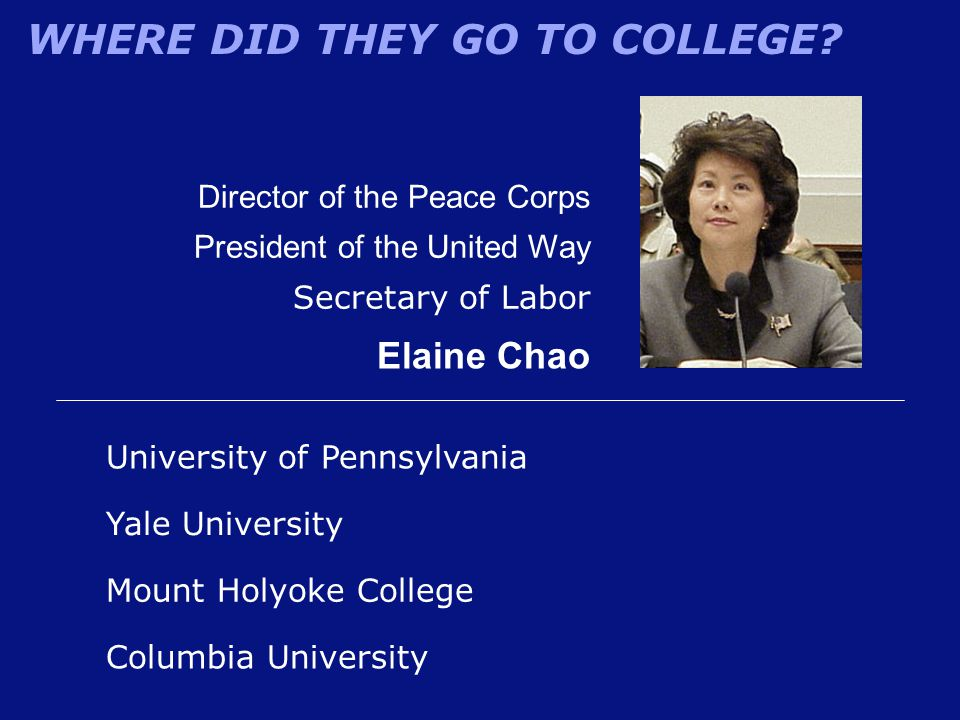 Elaine Chao Director of the Peace Corps President of the United Way