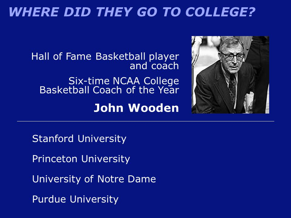 John Wooden Hall of Fame Basketball player and coach