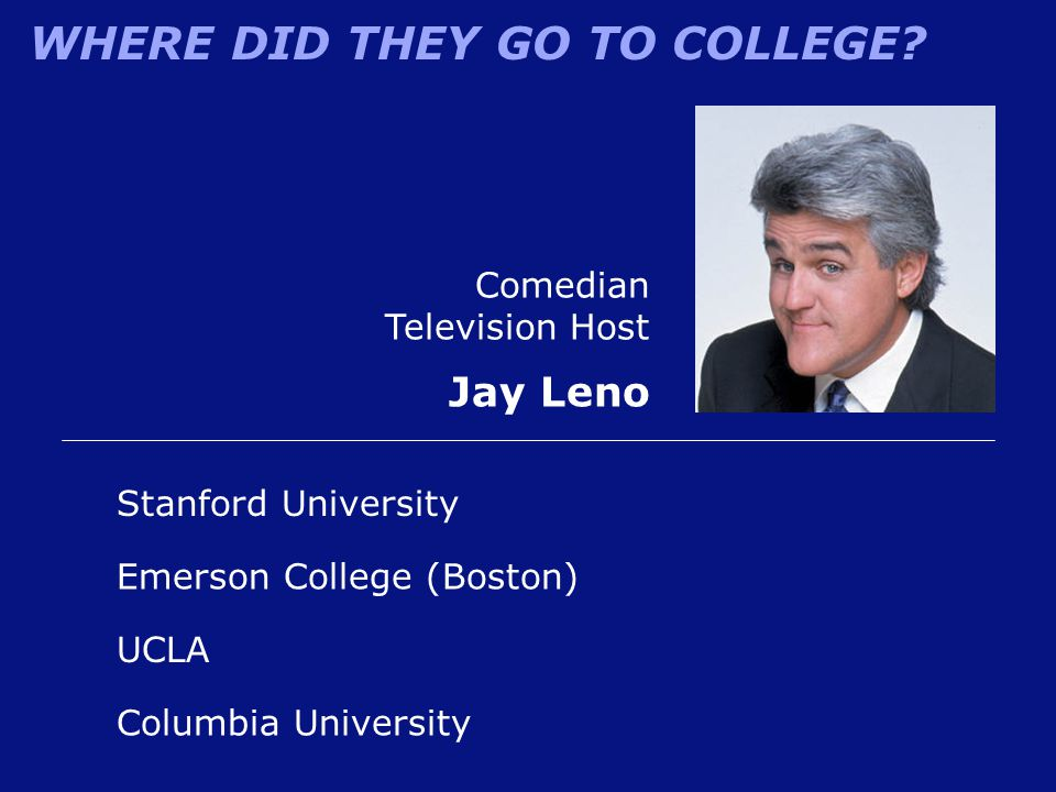 Jay Leno Comedian Television Host Stanford University