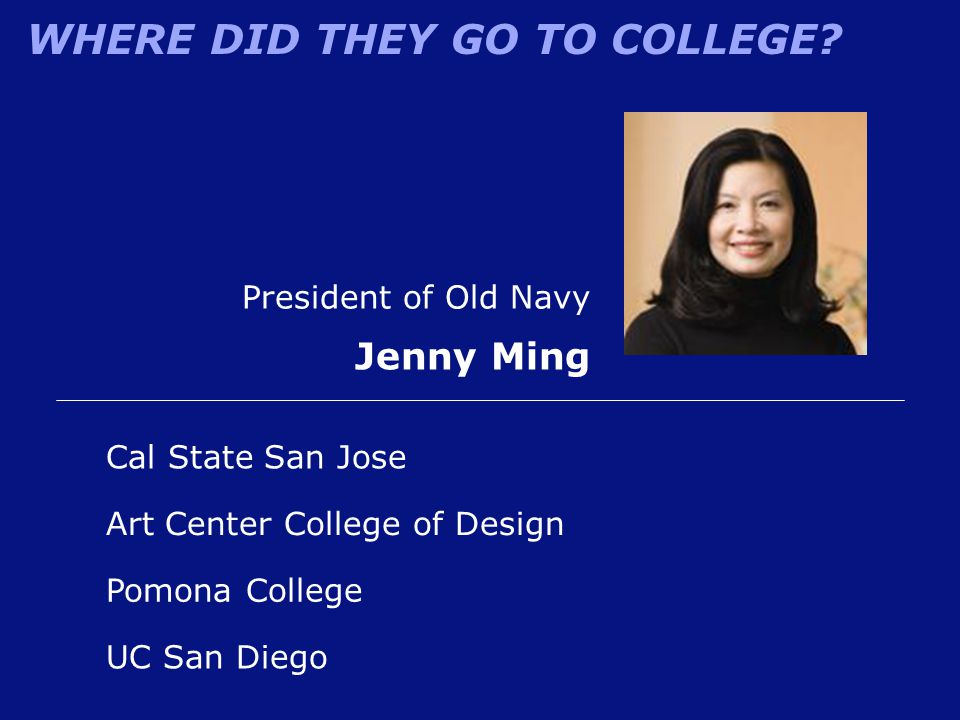 Jenny Ming President of Old Navy Cal State San Jose