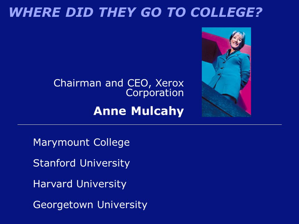 Anne Mulcahy Chairman and CEO, Xerox Corporation Marymount College