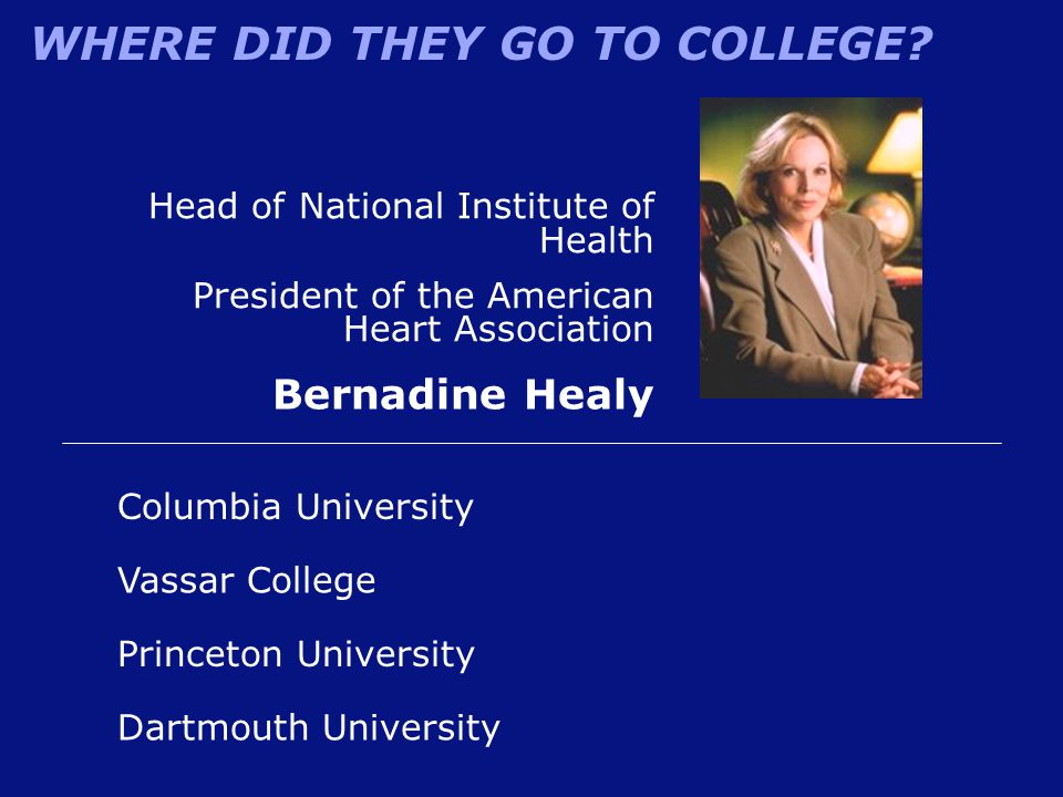 Bernadine Healy Head of National Institute of Health