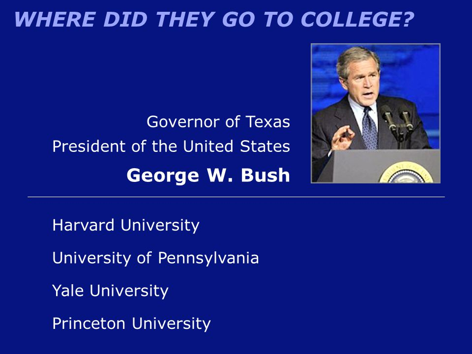 George W. Bush Governor of Texas President of the United States
