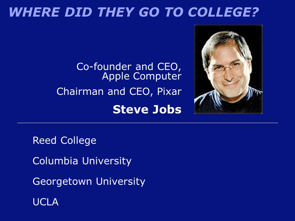 Steve Jobs Co-founder and CEO, Apple Computer Chairman and CEO, Pixar