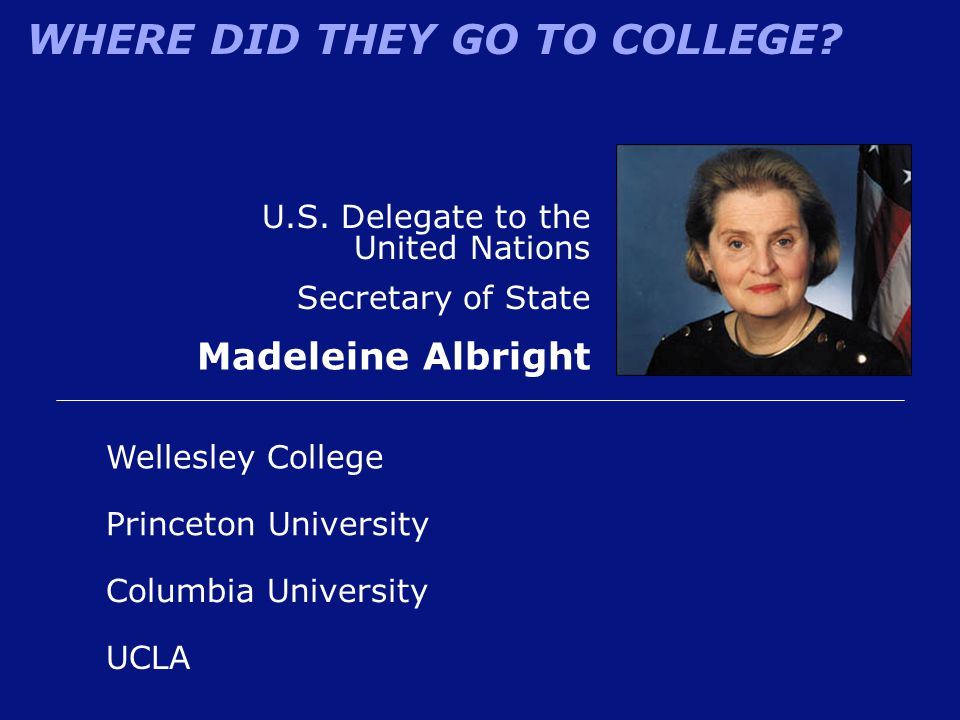 Madeleine Albright U.S. Delegate to the United Nations