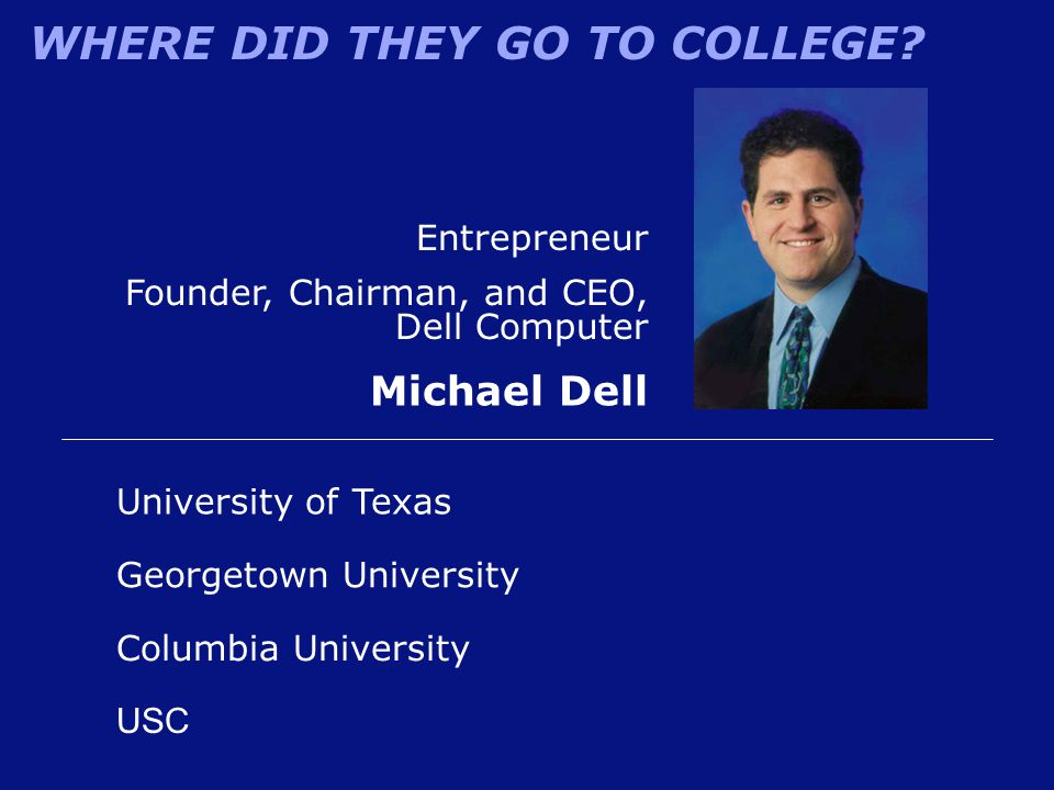 Michael Dell Entrepreneur Founder, Chairman, and CEO, Dell Computer