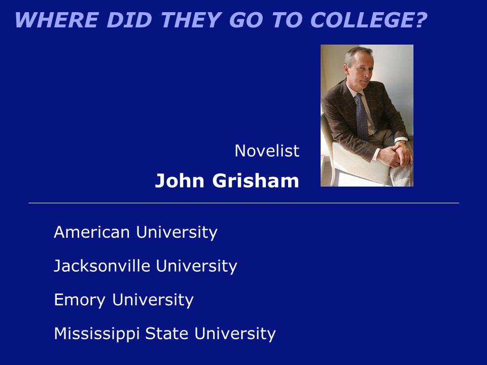 John Grisham Novelist American University Jacksonville University