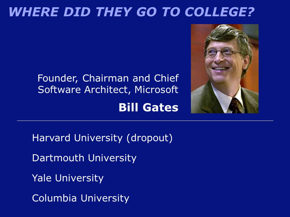Bill Gates Founder, Chairman and Chief Software Architect, Microsoft