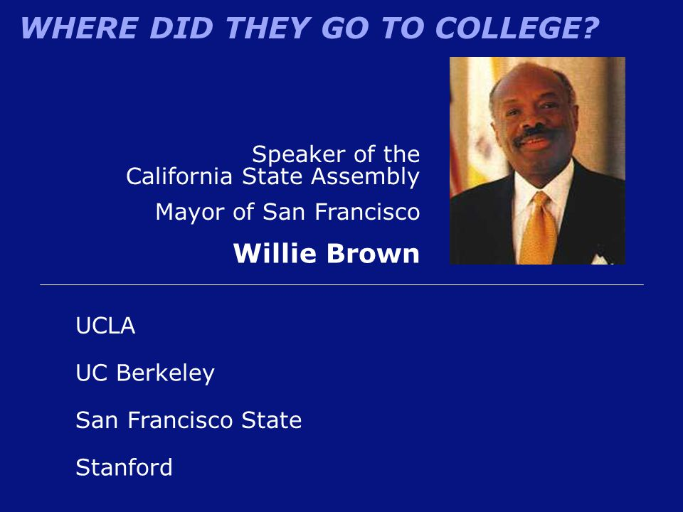 Willie Brown Speaker of the California State Assembly