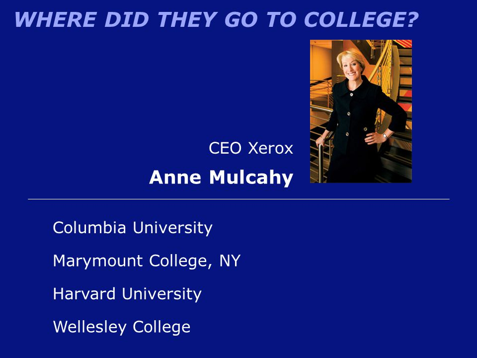 Anne Mulcahy CEO Xerox Columbia University Marymount College, NY
