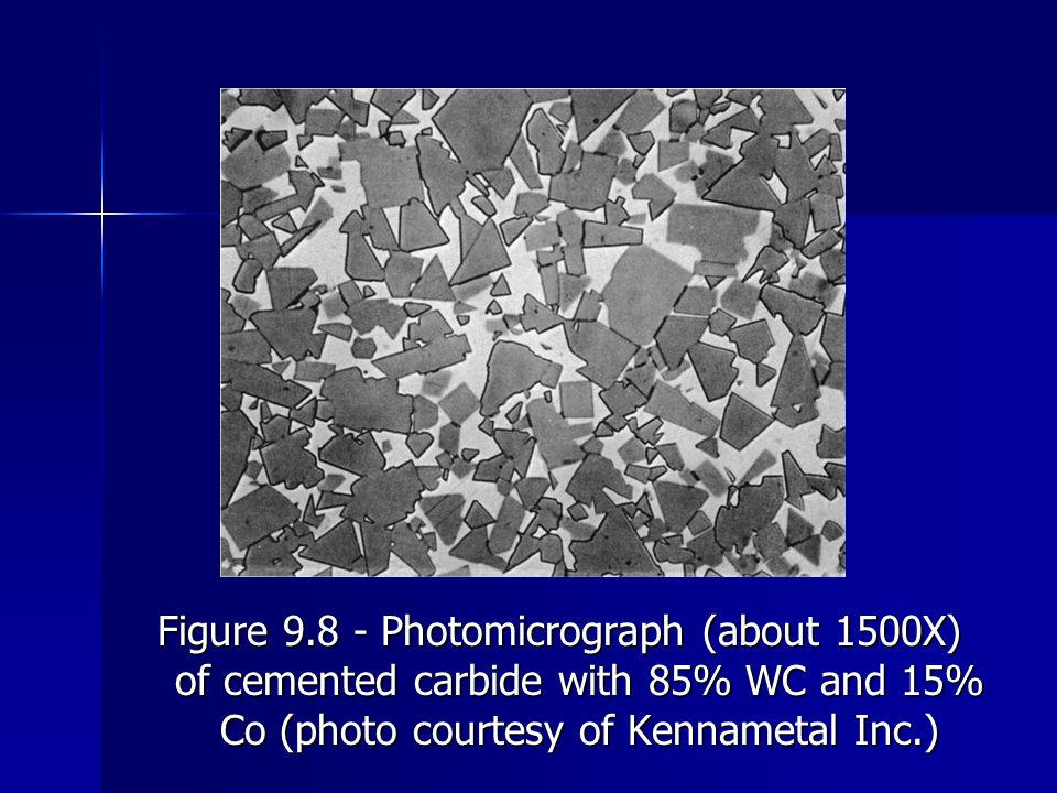 Figure 9.8 ‑ Photomicrograph (about 1500X) of cemented carbide with 85% WC and 15% Co (photo courtesy of Kennametal Inc.)