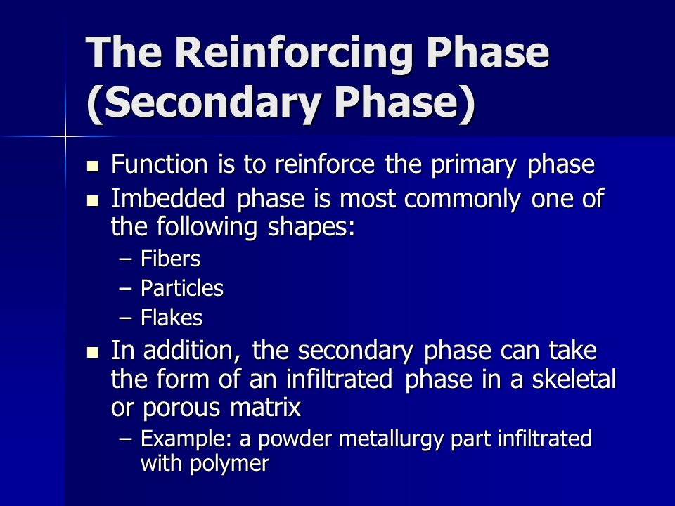 The Reinforcing Phase (Secondary Phase)