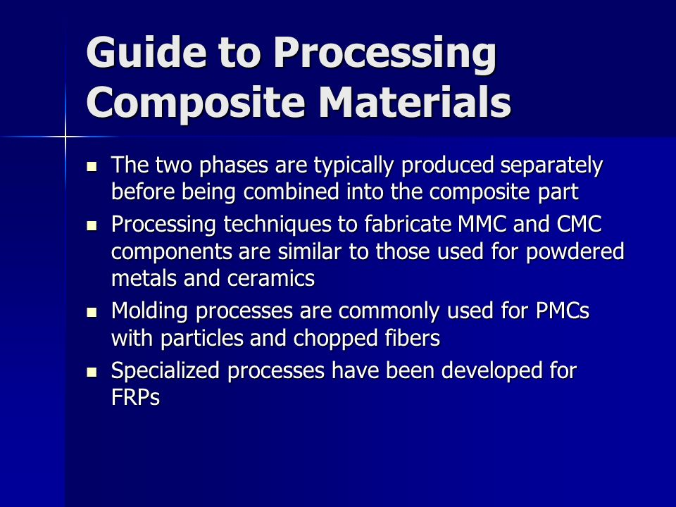 Guide to Processing Composite Materials