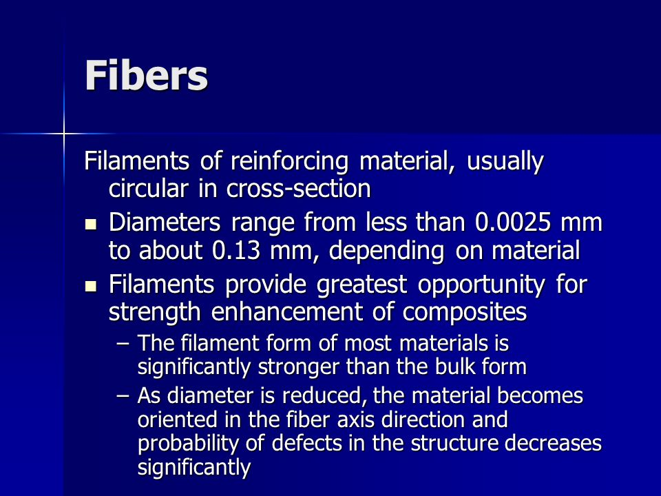 Fibers Filaments of reinforcing material, usually circular in cross‑section.