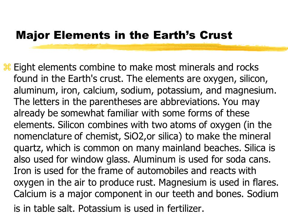 Major Elements in the Earth's Crust