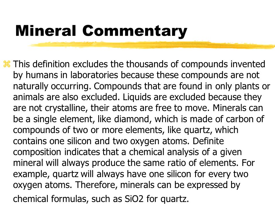 Mineral Commentary