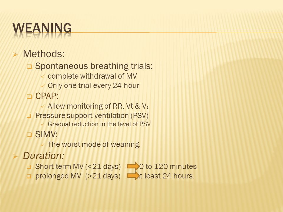 weaning Methods: Duration: Spontaneous breathing trials: CPAP: SIMV: