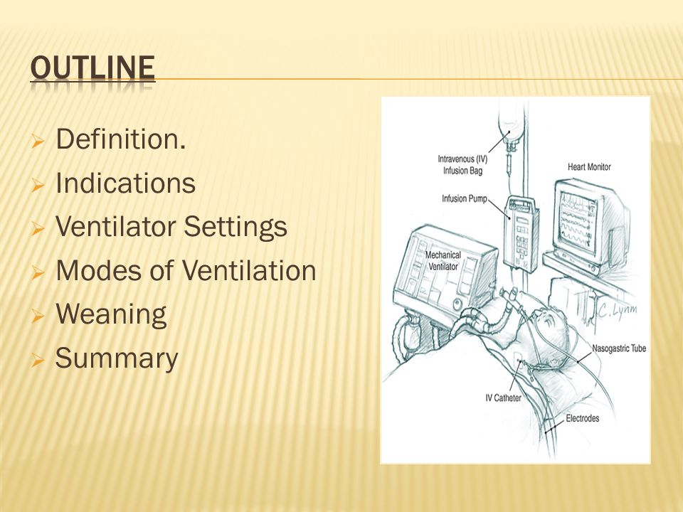 Outline Definition. Indications Ventilator Settings