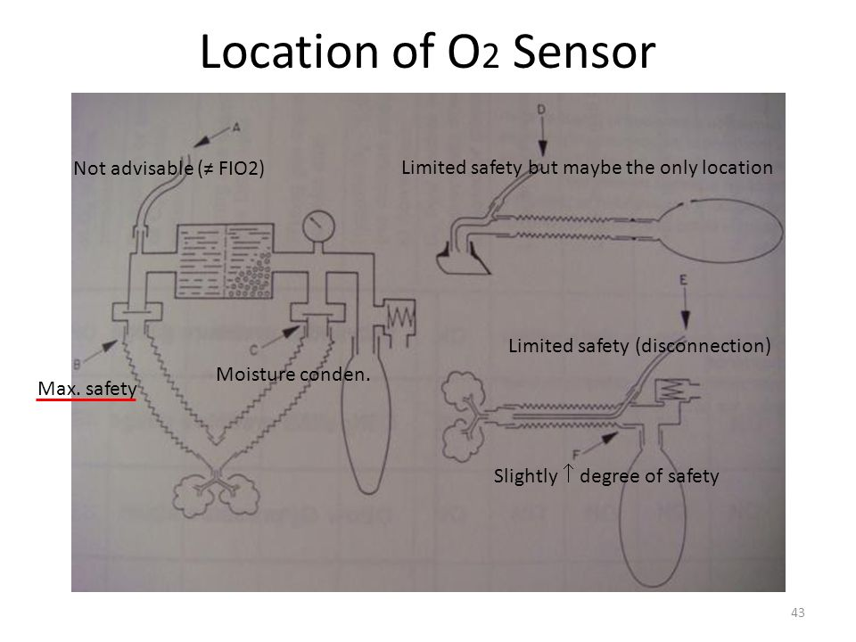 Location of O2 Sensor Not advisable (≠ FIO2)