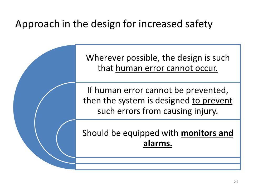 Approach in the design for increased safety