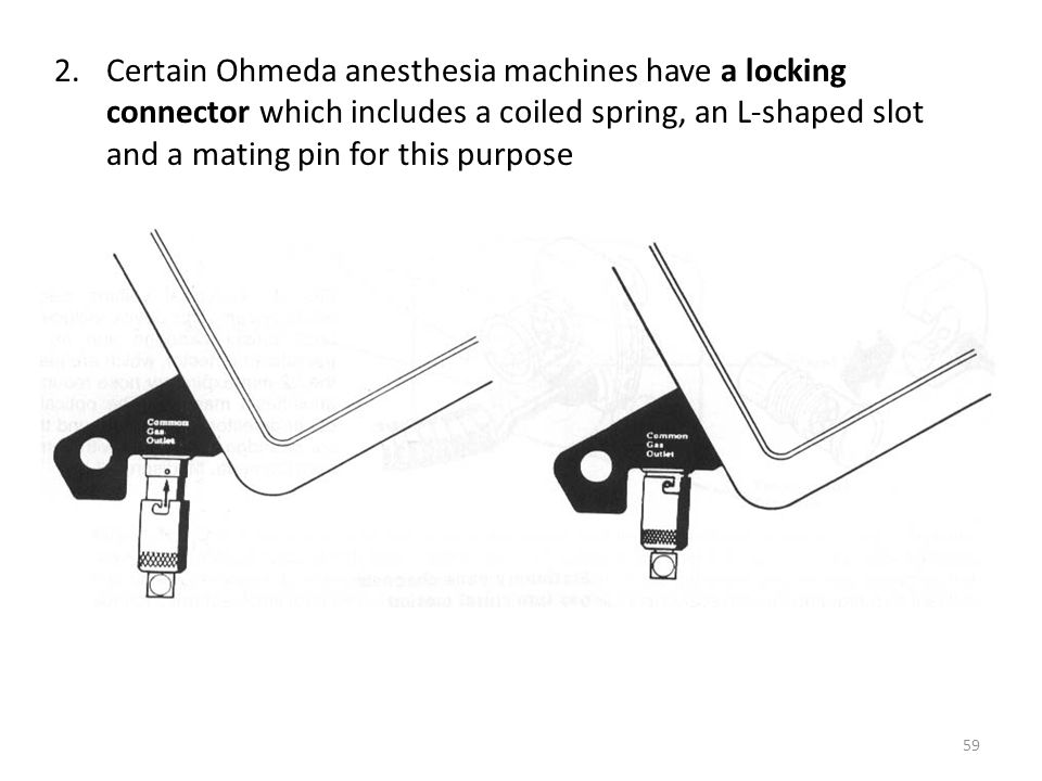 Certain Ohmeda anesthesia machines have a locking connector which includes a coiled spring, an L-shaped slot and a mating pin for this purpose