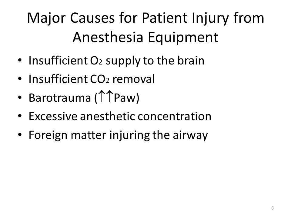 Major Causes for Patient Injury from Anesthesia Equipment
