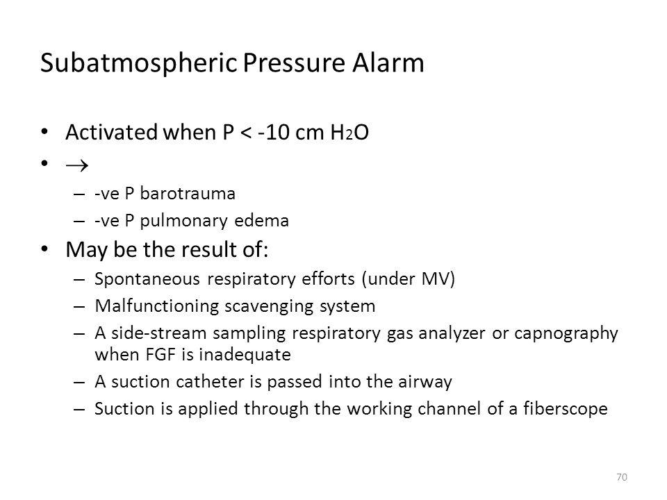 Subatmospheric Pressure Alarm