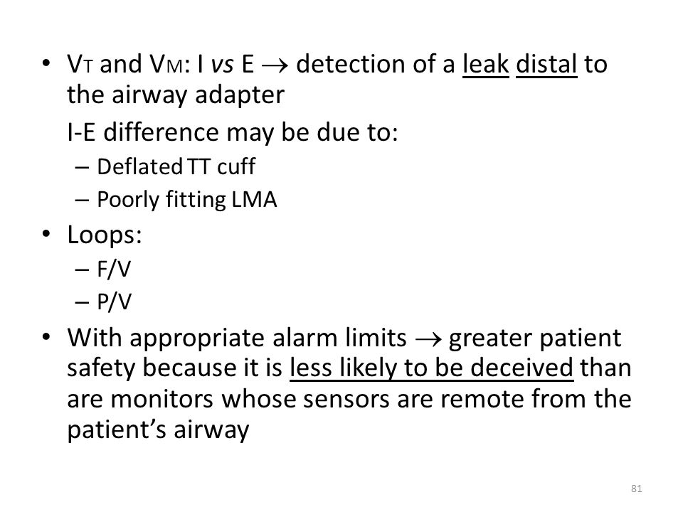 VT and VM: I vs E  detection of a leak distal to the airway adapter