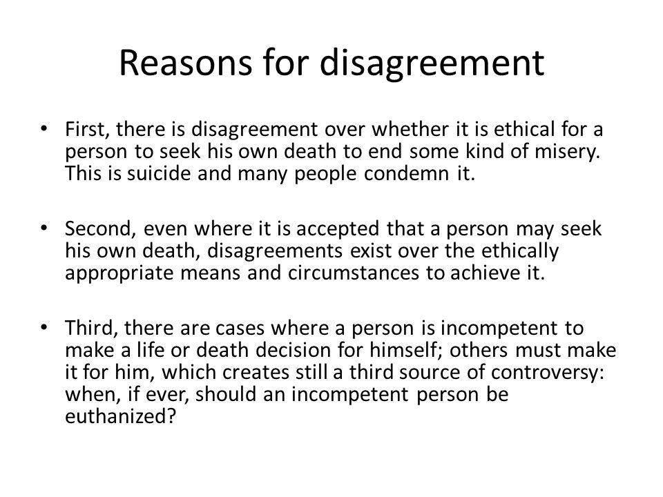 Reasons for disagreement