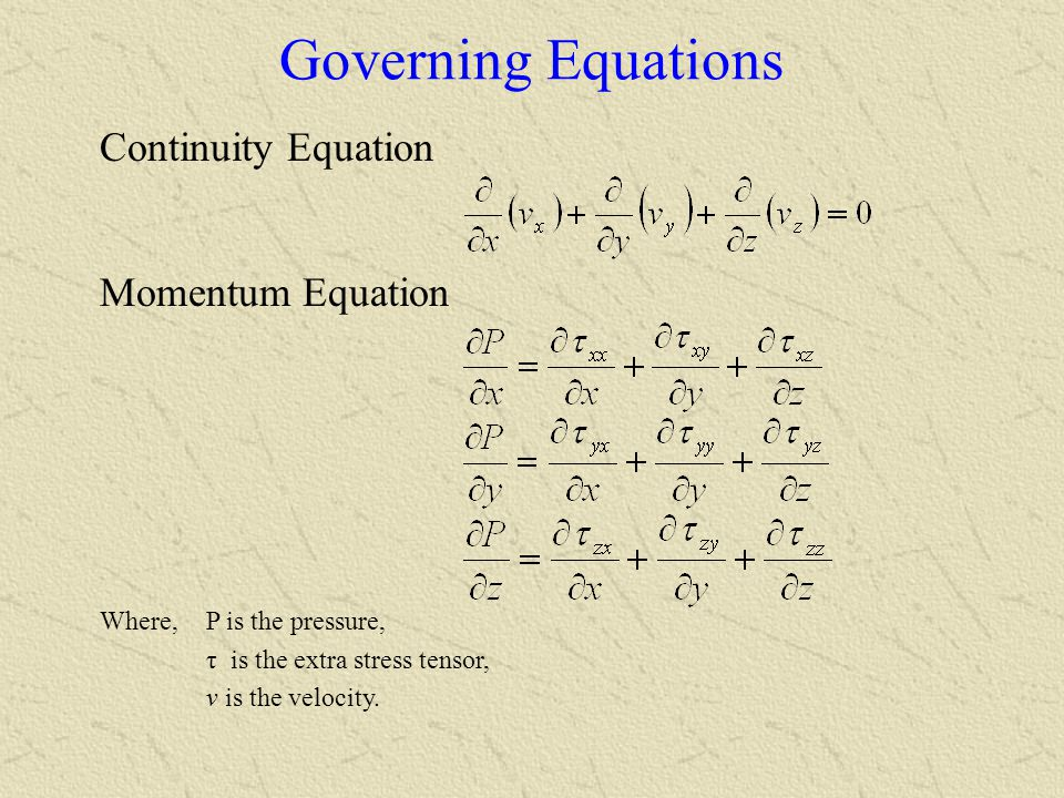 Governing Equations Continuity Equation Momentum Equation