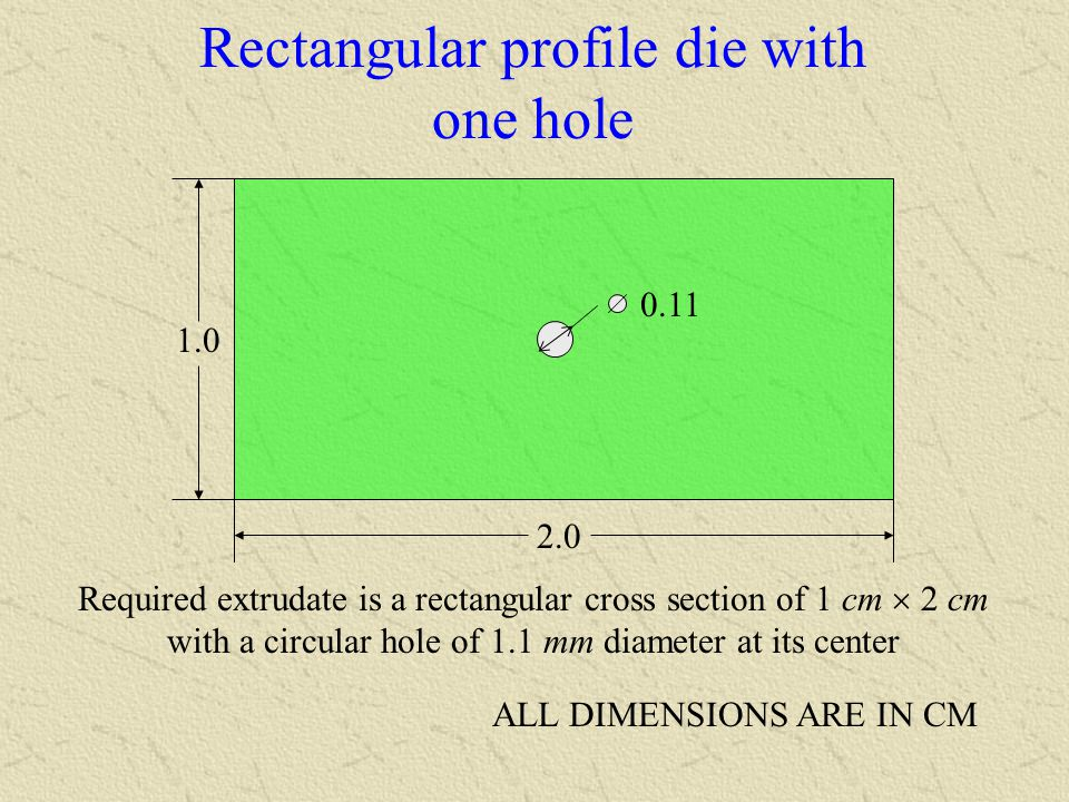 Rectangular profile die with one hole