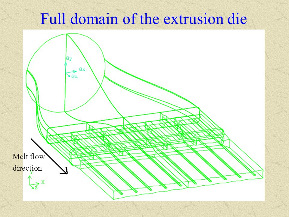 Full domain of the extrusion die