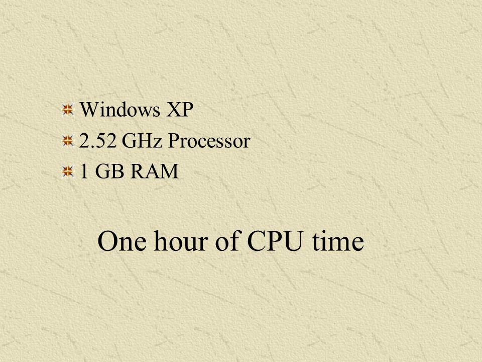 Windows XP 2.52 GHz Processor 1 GB RAM One hour of CPU time