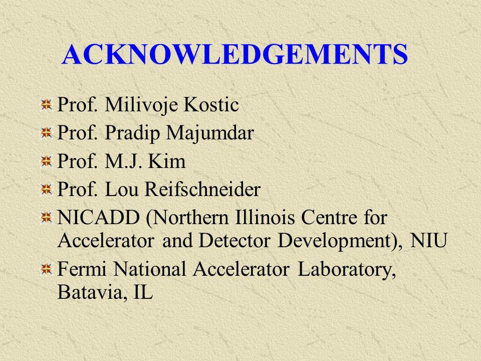 ACKNOWLEDGEMENTS Prof. Milivoje Kostic Prof. Pradip Majumdar