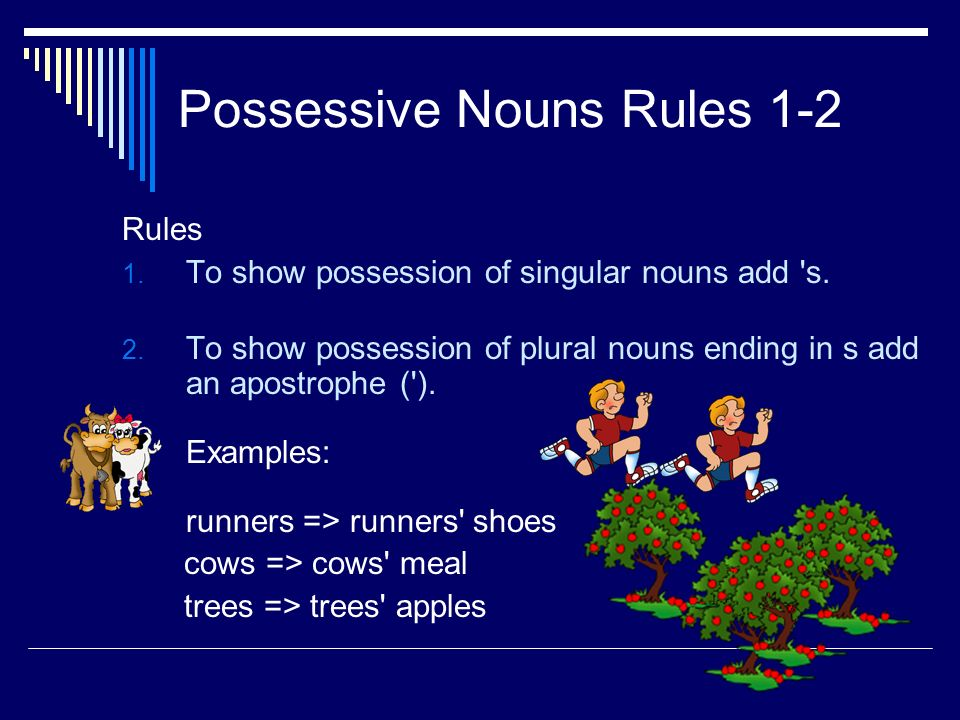 Possessive Nouns Rules 1-2