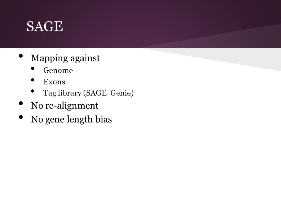 SAGE Mapping against No re-alignment No gene length bias Genome Exons