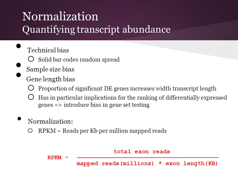 Normalization Quantifying transcript abundance