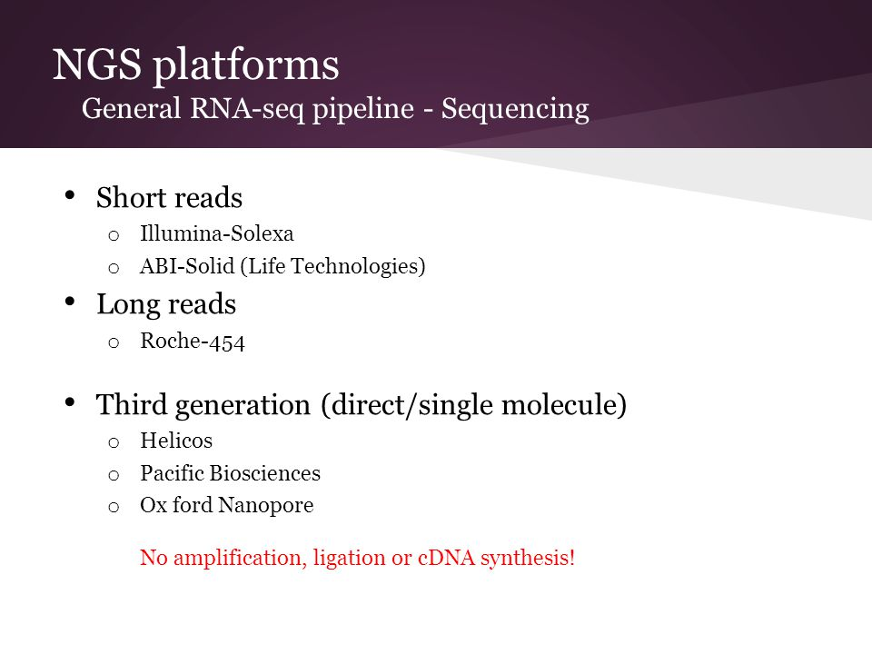 NGS platforms General RNA-seq pipeline - Sequencing