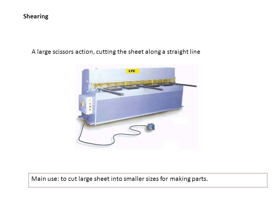 Shearing A large scissors action, cutting the sheet along a straight line.
