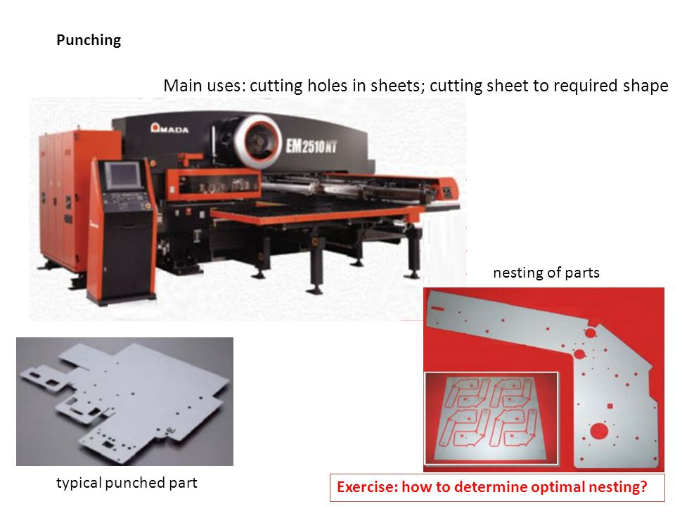 Main uses: cutting holes in sheets; cutting sheet to required shape
