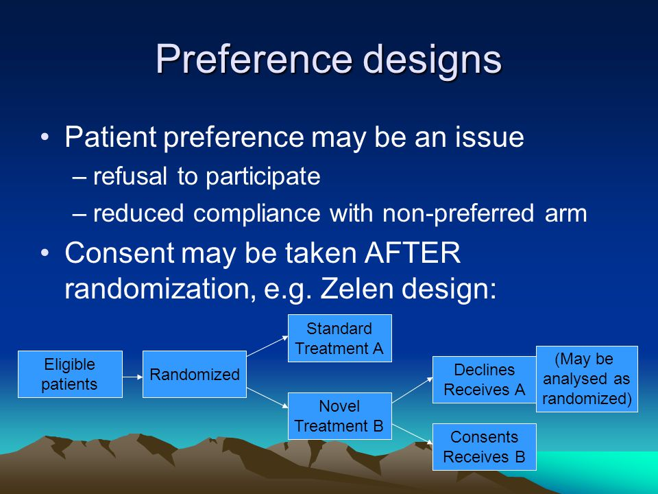 Preference designs Patient preference may be an issue