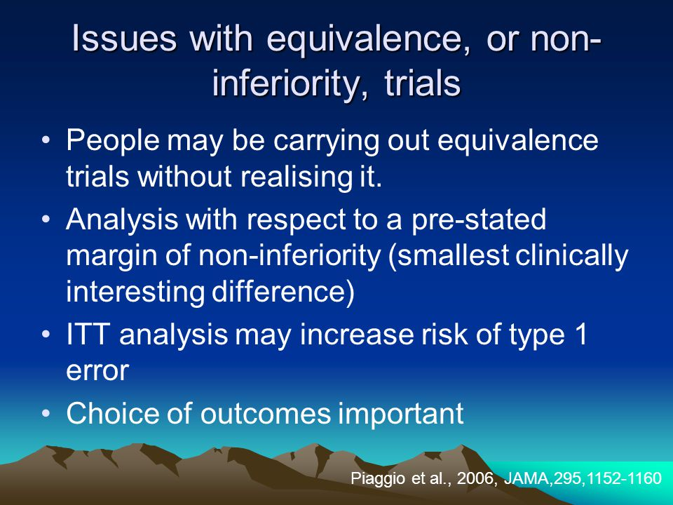 Issues with equivalence, or non-inferiority, trials