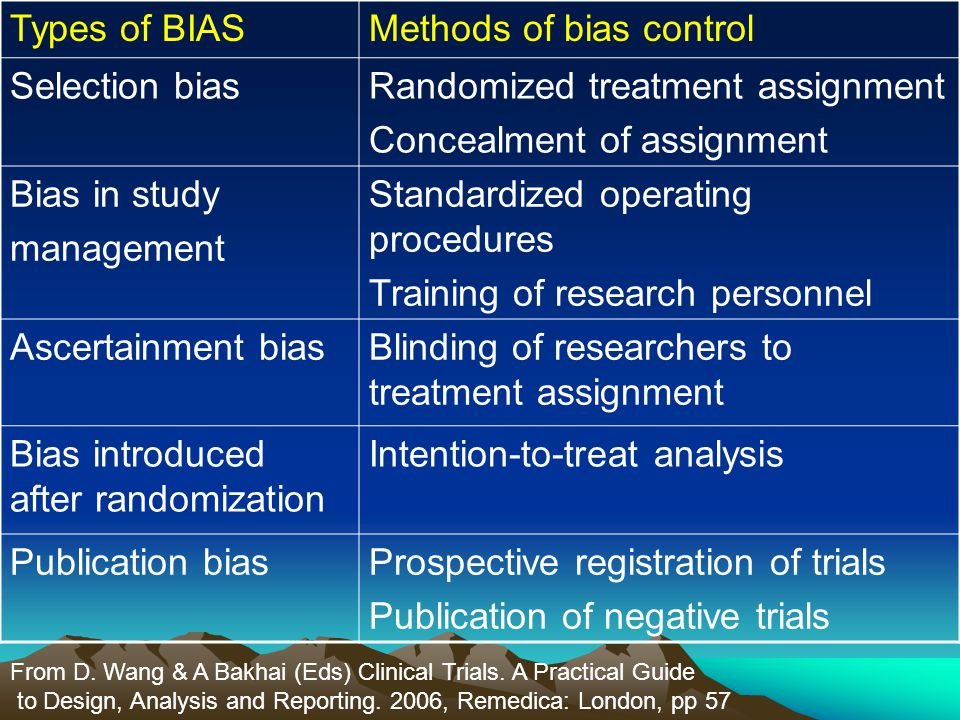 Methods of bias control Selection bias Randomized treatment assignment