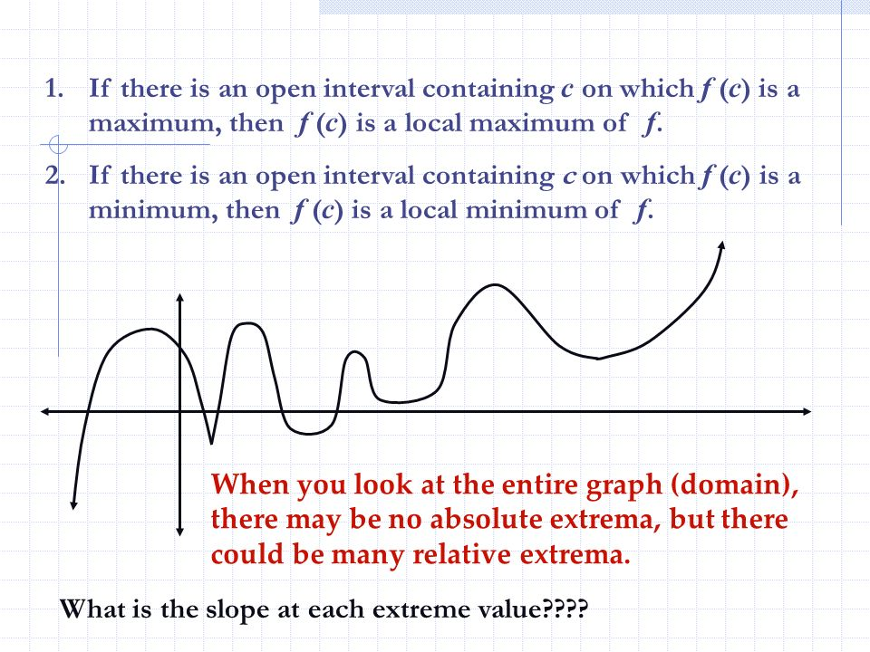 If there is an open interval containing c on which f (c) is a maximum, then f (c) is a local maximum of f.