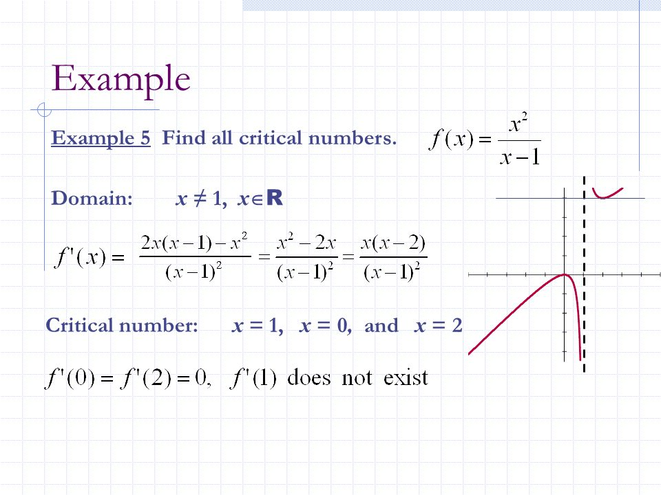 Example Example 5 Find all critical numbers. Domain: x ≠ 1, xR