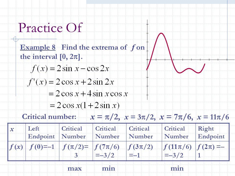 Practice Of x = /2, x = 3/2, x = 7/6, x = 11/6